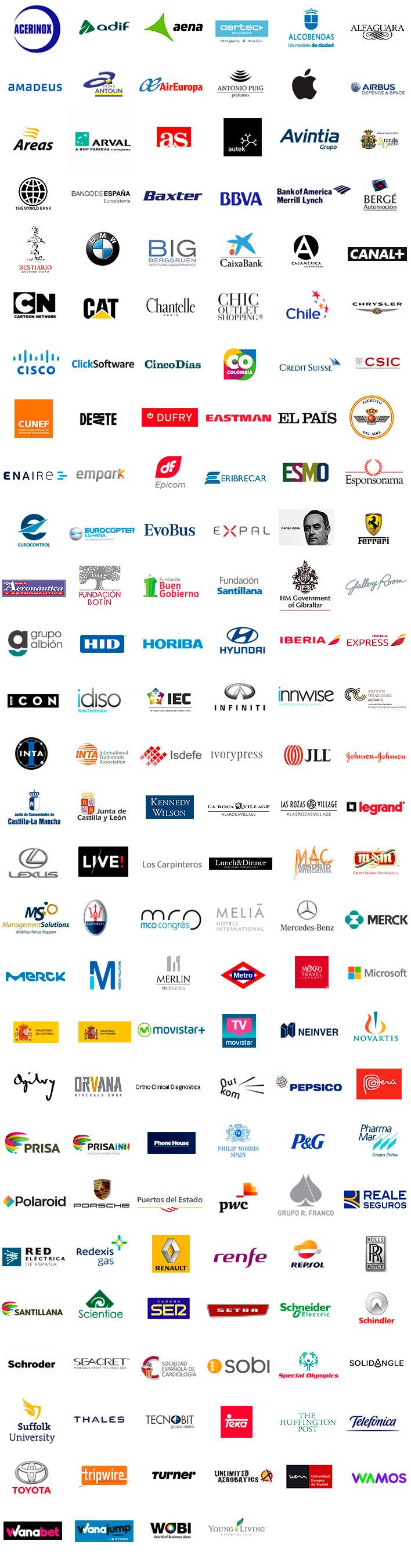 Agencia de Eventos Profesionales - GRUPO INK - Clientes, Referencias