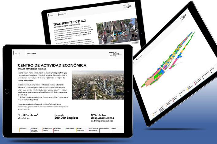 Desarrollo app iPad exposición proyecto Madrid Nuevo Norte - GRUPO INK Agencia de Eventos